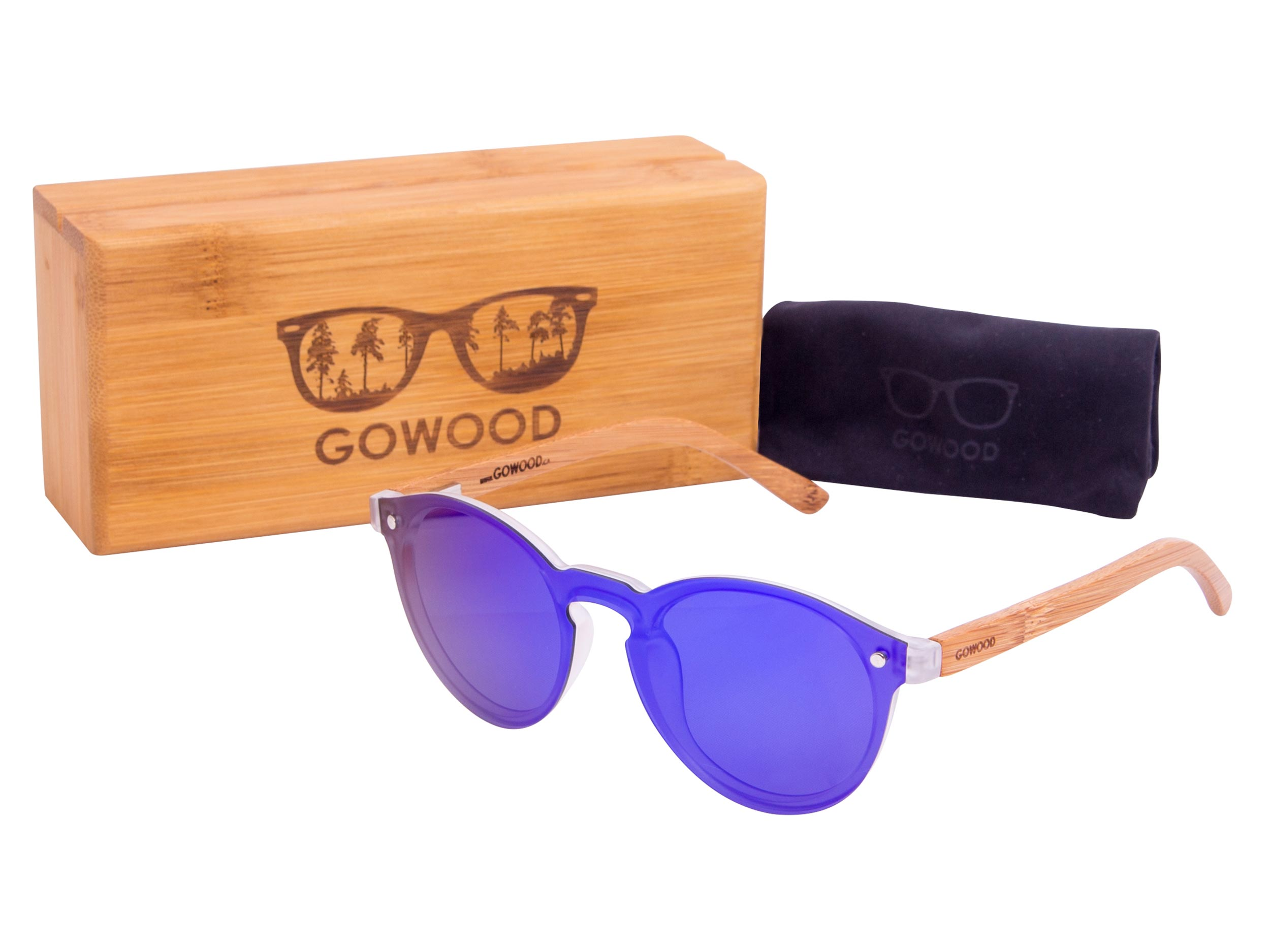 Round bamboo wood sunglasses set