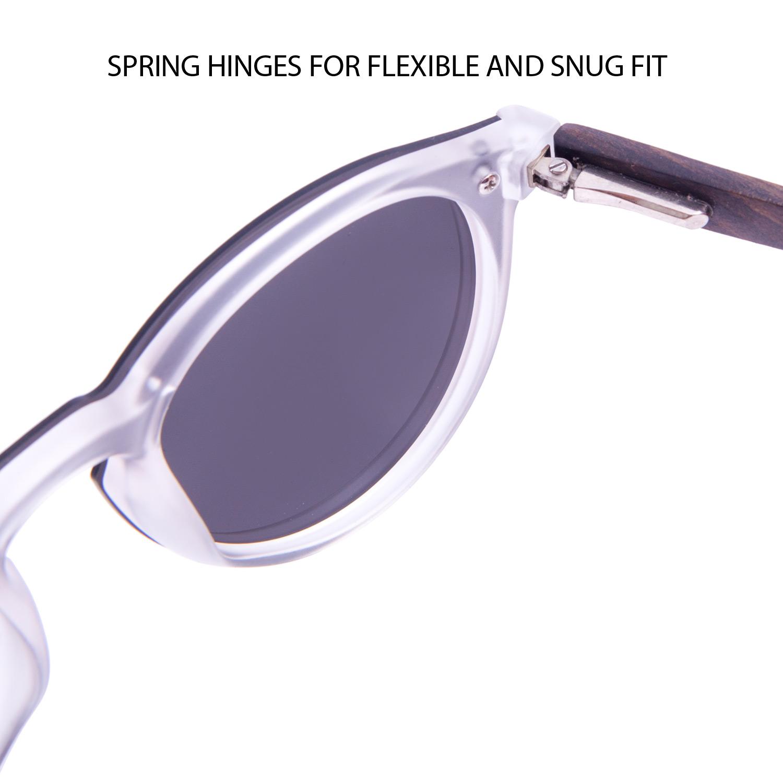 Round ebony wood sunglasses black polarized lenses hinge