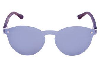 Round ebony wood sunglasses front