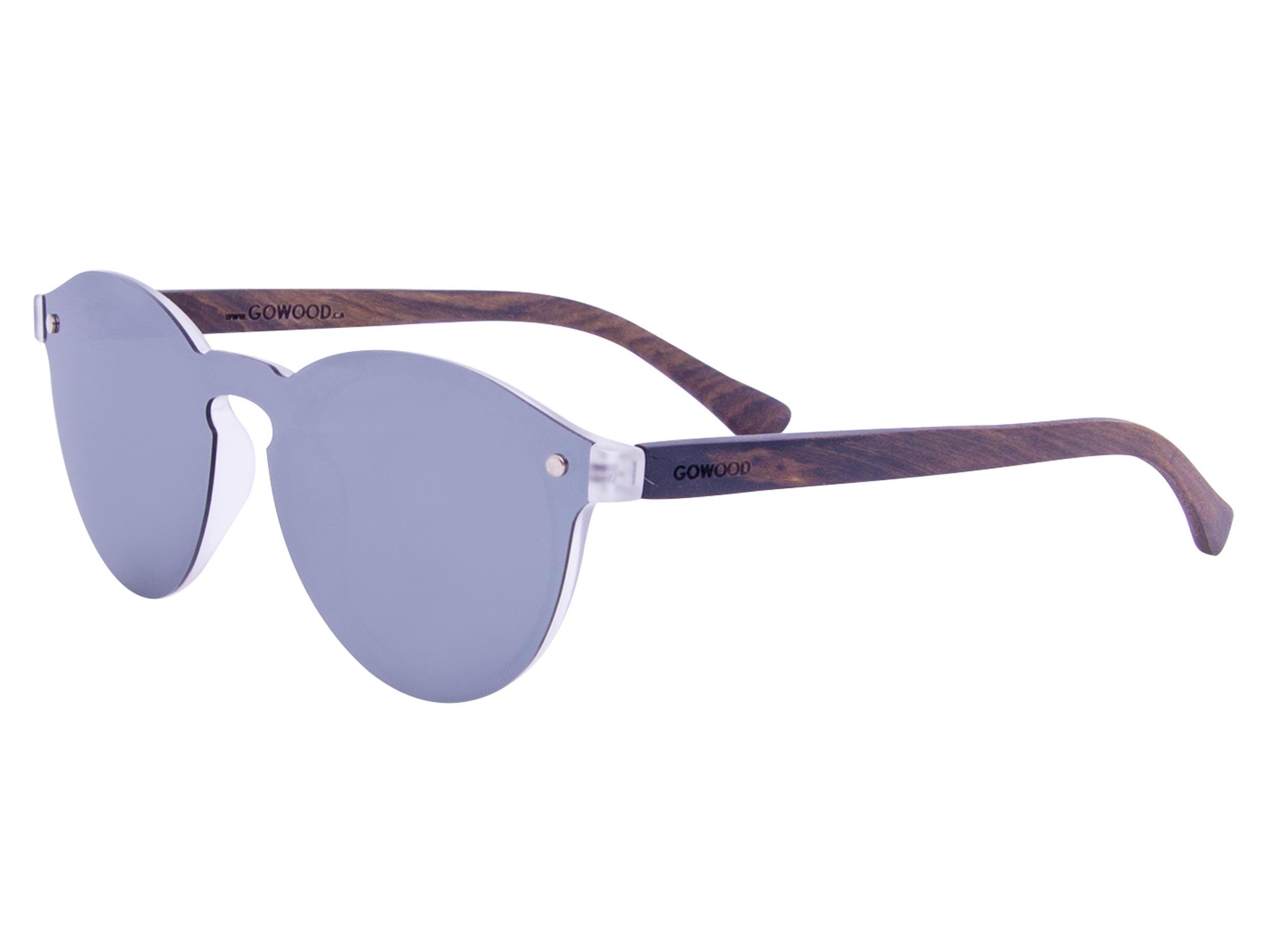 Round ebony wood sunglasses left