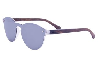Round ebony wood sunglasses left