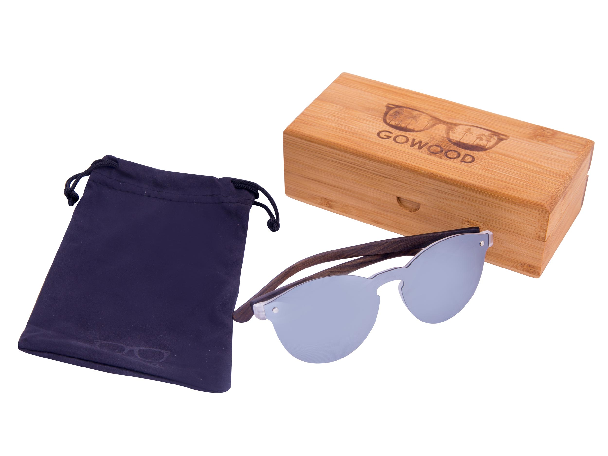 Round ebony wood sunglasses set