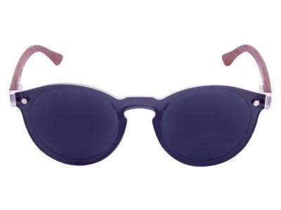 Round walnut wood sunglasses front
