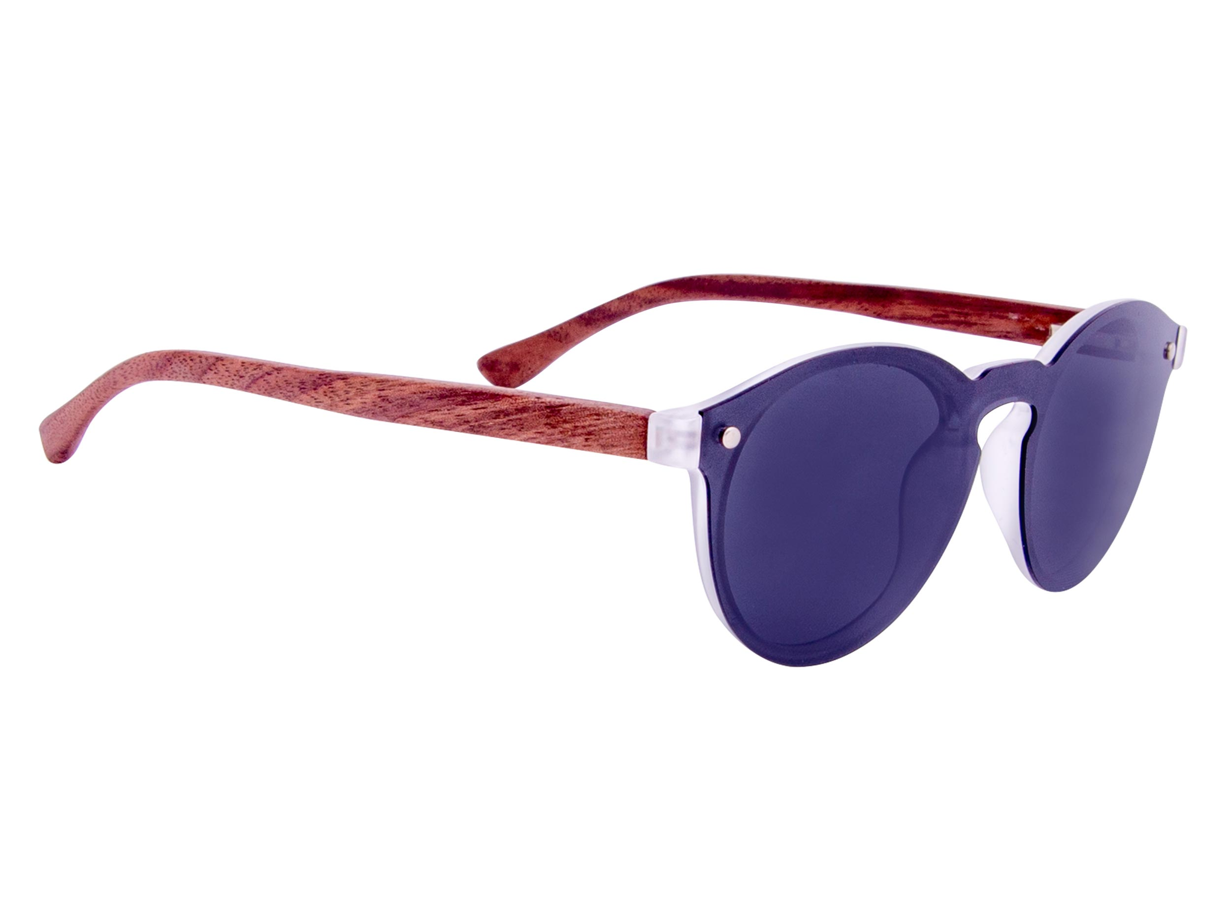 Round walnut wood sunglasses right