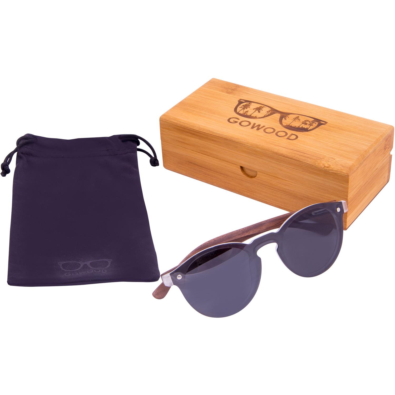 Round walnut wood sunglasses with black polarized one piece lens set