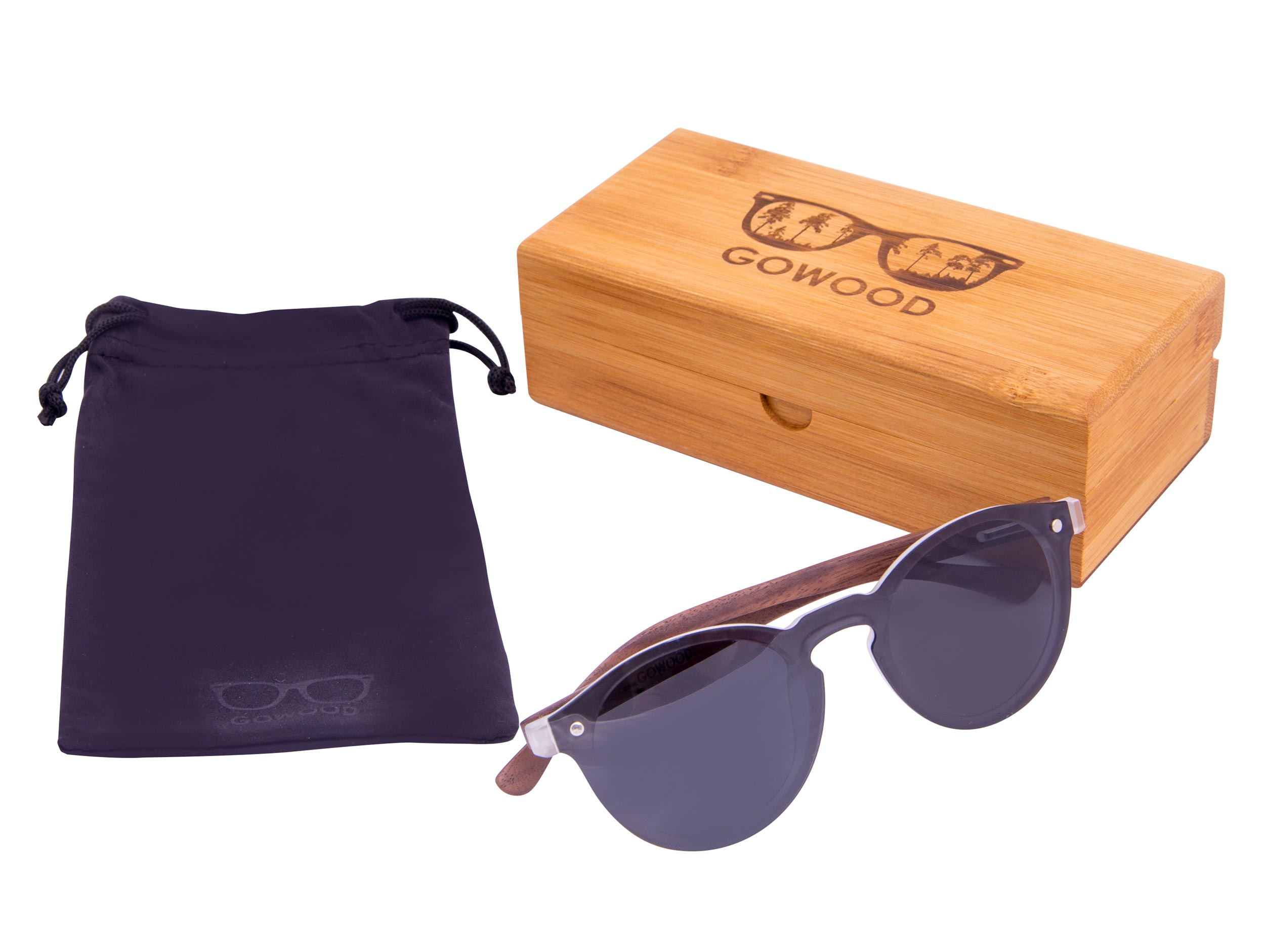 Round walnut wood sunglasses set 1
