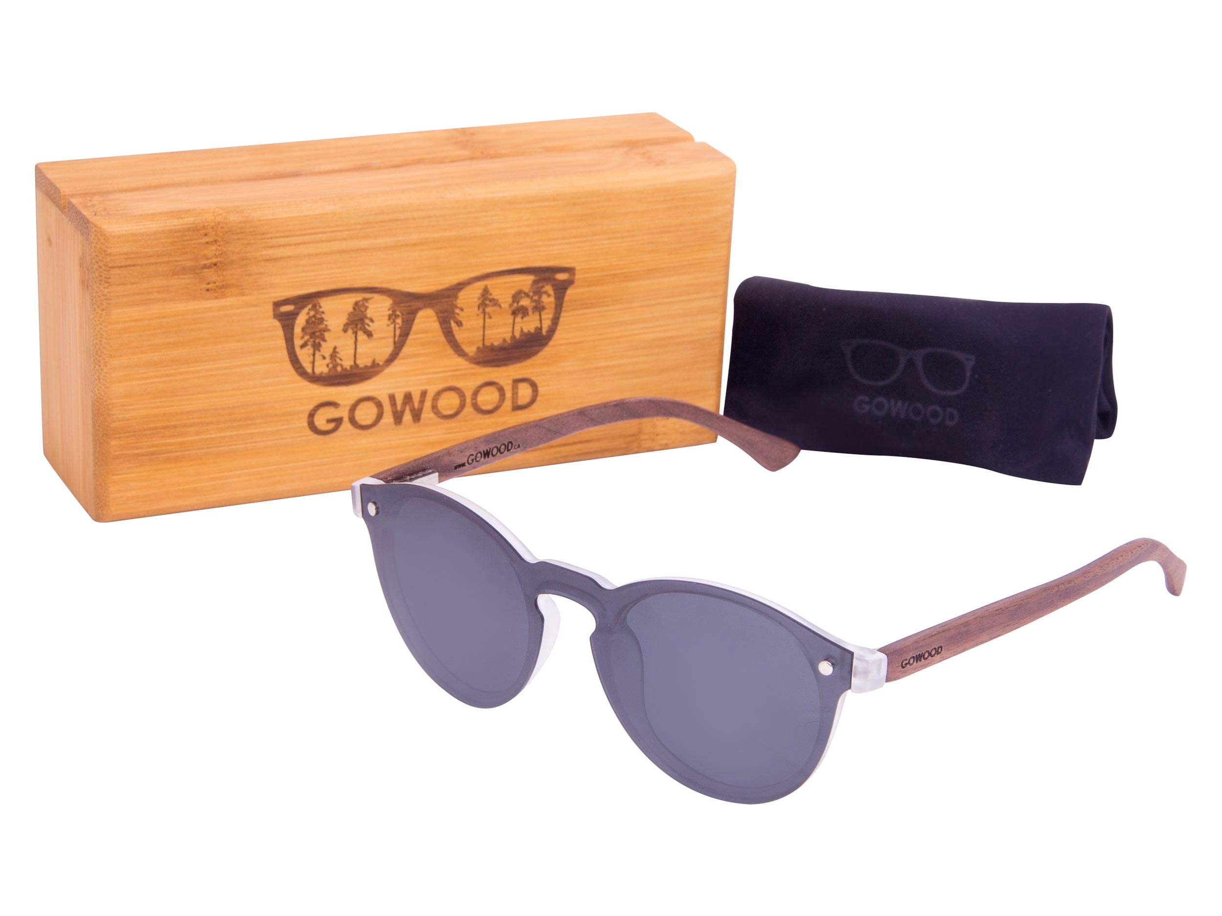 Round walnut wood sunglasses set 2