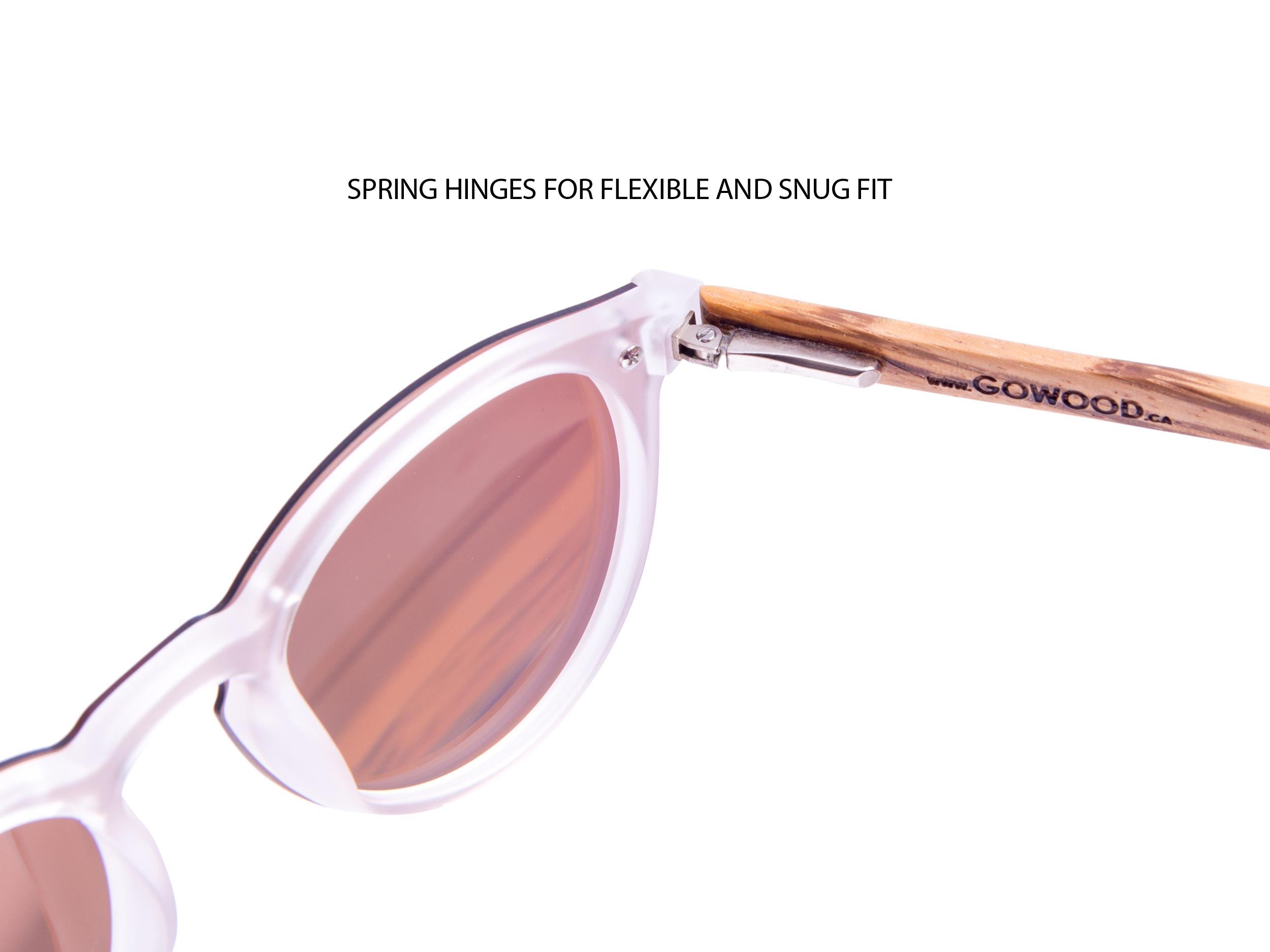 Round zebra wood sunglasses hinge