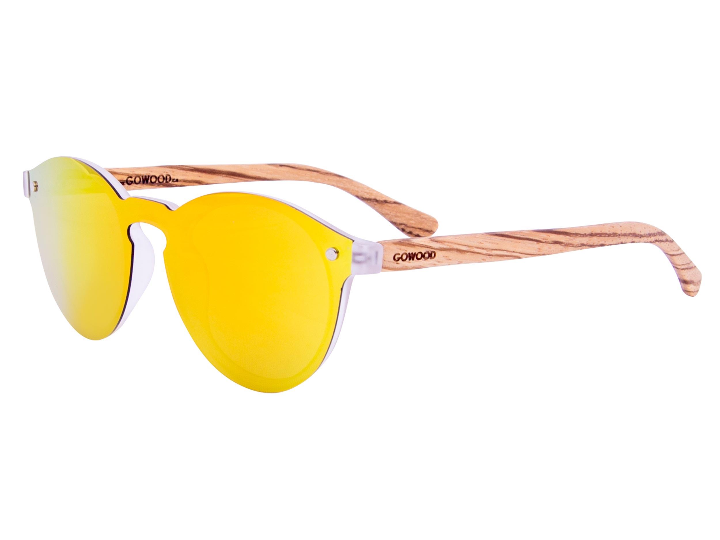 Round zebra wood sunglasses left