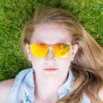 Round zebra wood sunglasses model