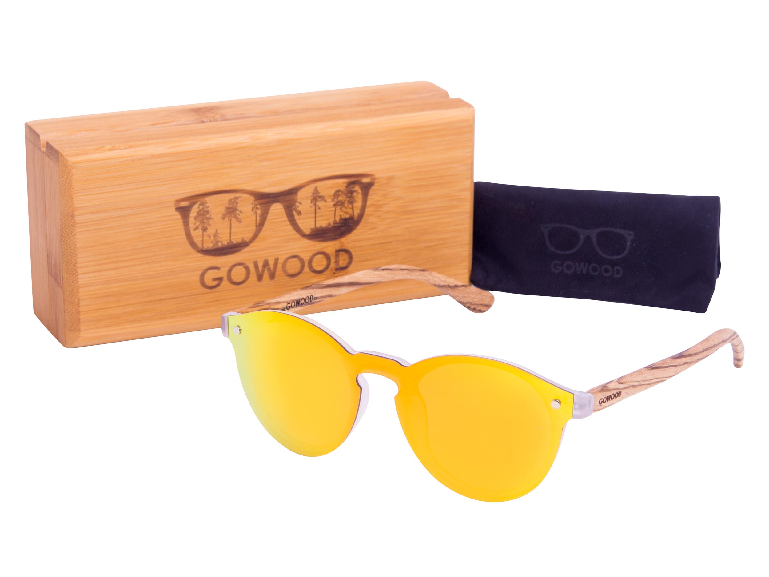 Round zebra wood sunglasses set
