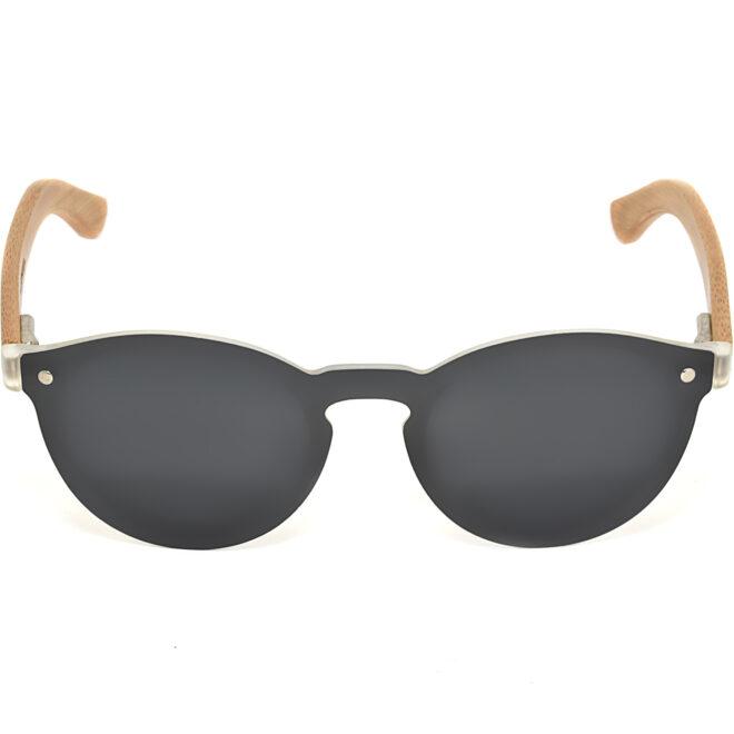 Round bamboo wood sunglasses black polarized lenses front