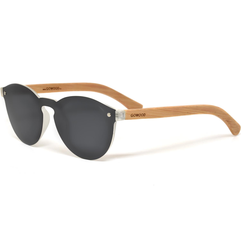 Round bamboo wood sunglasses black polarized lenses
