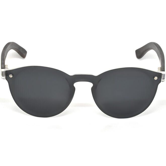 Round ebony wood sunglasses black polarized lenses front