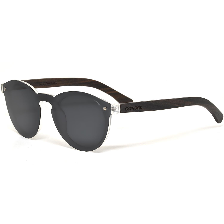 Round ebony wood sunglasses black polarized lenses left