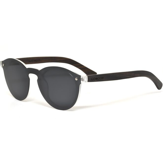 Round ebony wood sunglasses black polarized lenses