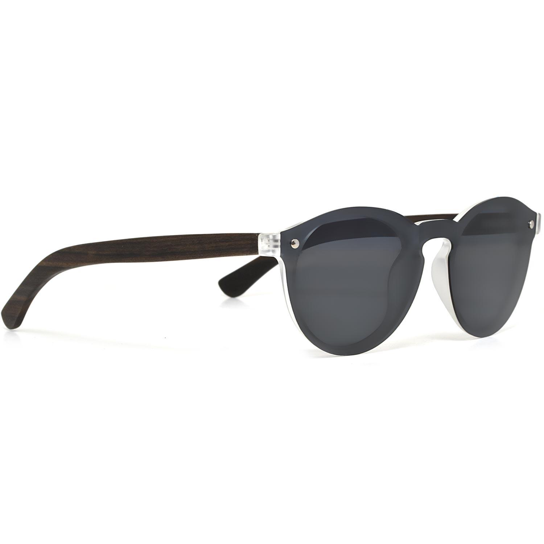 Round ebony wood sunglasses black polarized lenses right