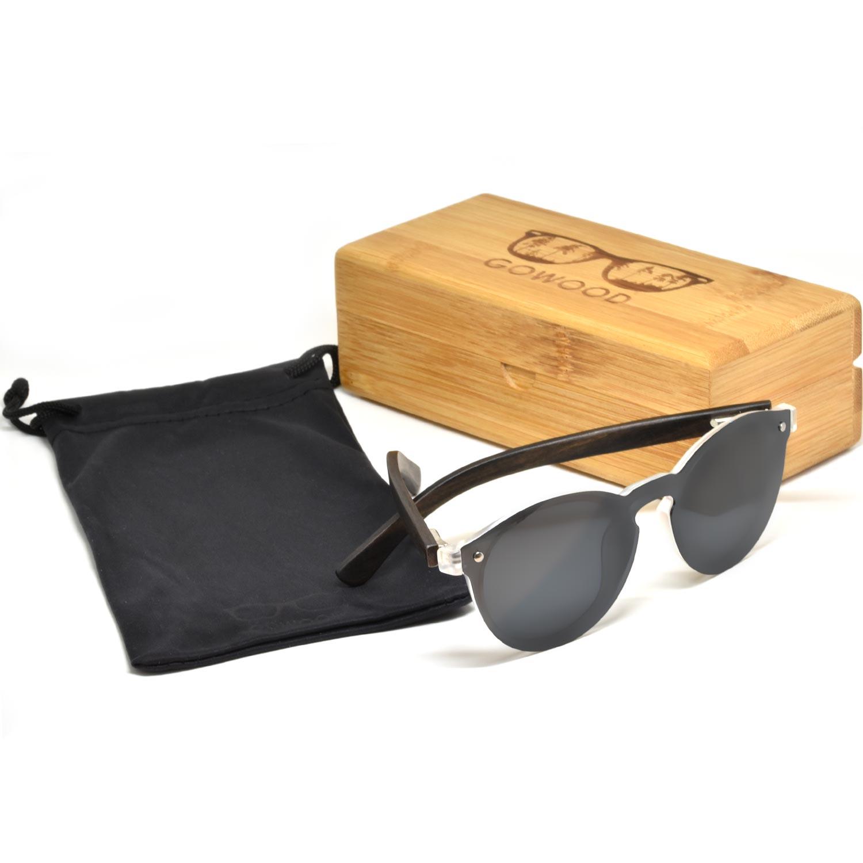 Round ebony wood sunglasses black polarized lenses set