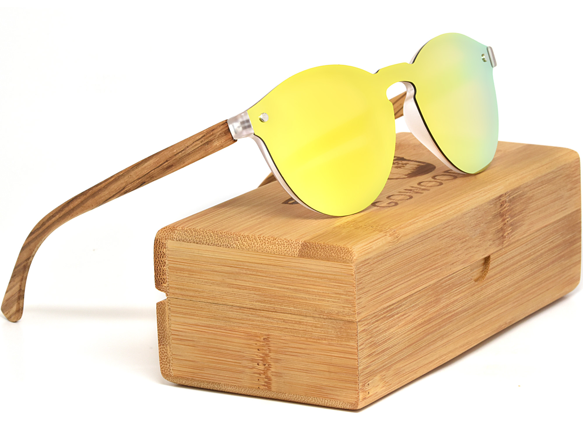 Round wood sunglasses with gold mirrored lenses