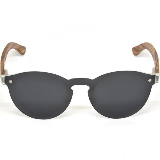 Round zebra wood sunglasses black polarized lenses front