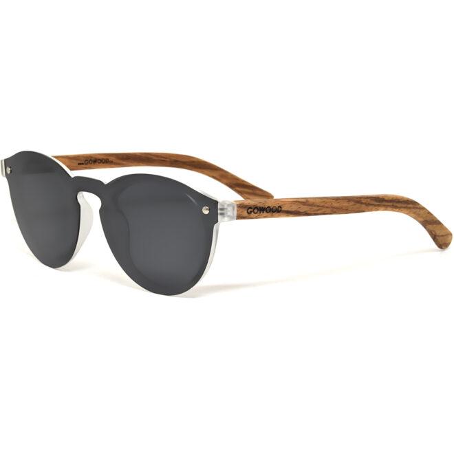 Round zebra wood sunglasses black polarized lenses