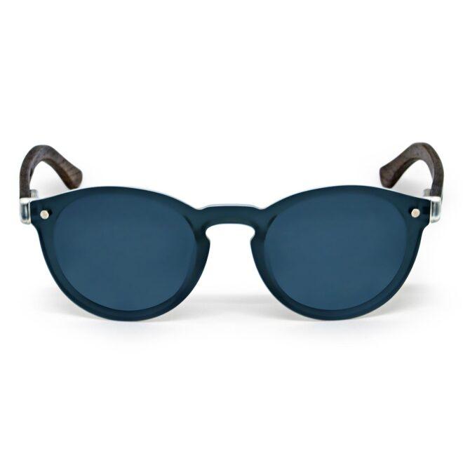 Round walnut wood sunglasses with black polarized one piece lens front