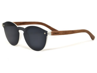 Round walnut wood sunglasses left