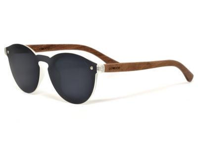 Round walnut wood sunglasses left