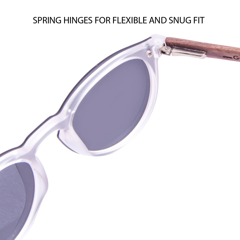 Round walnut wood sunglasses with black polarized one piece lens hinge
