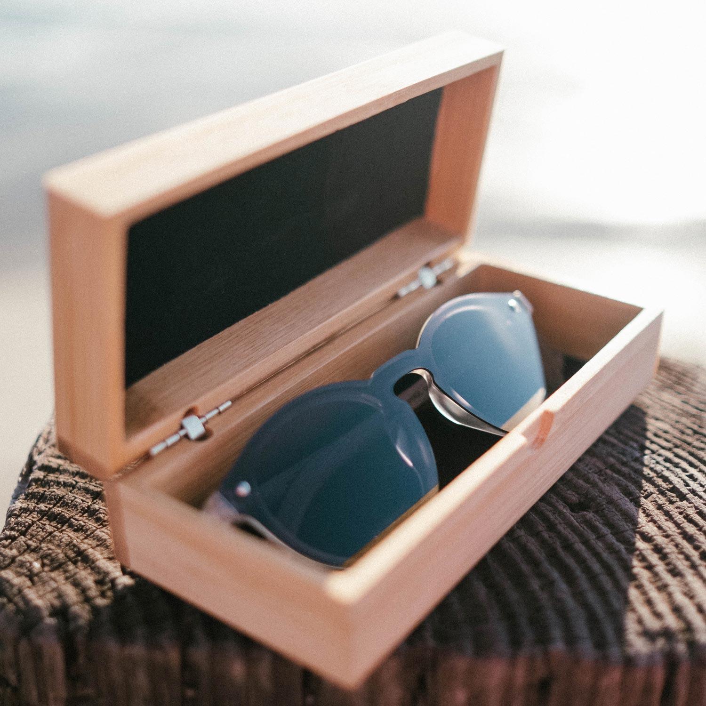 Round walnut wood sunglasses with black polarized one piece lens bamboo box