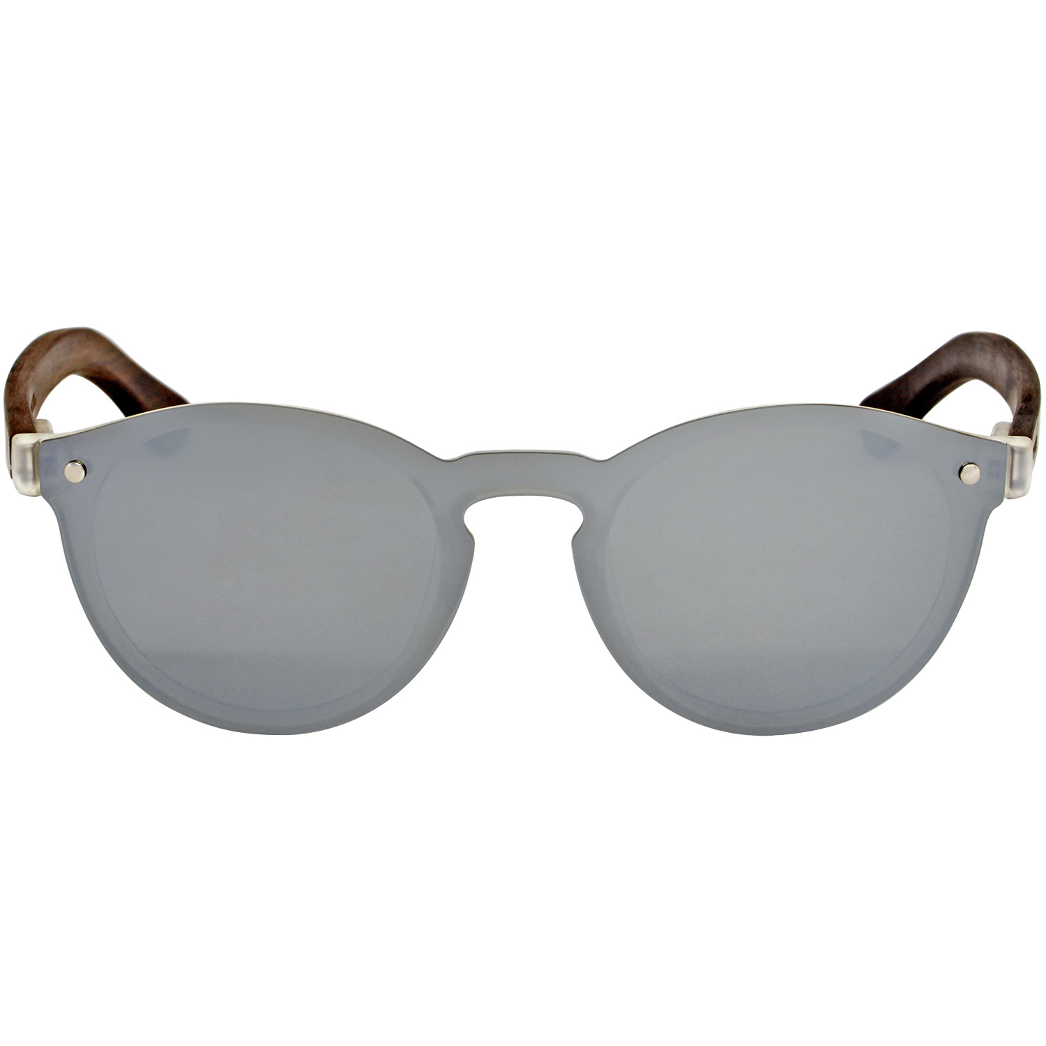 Round ebony wood sunglasses silver mirrored polarized one piece lens front