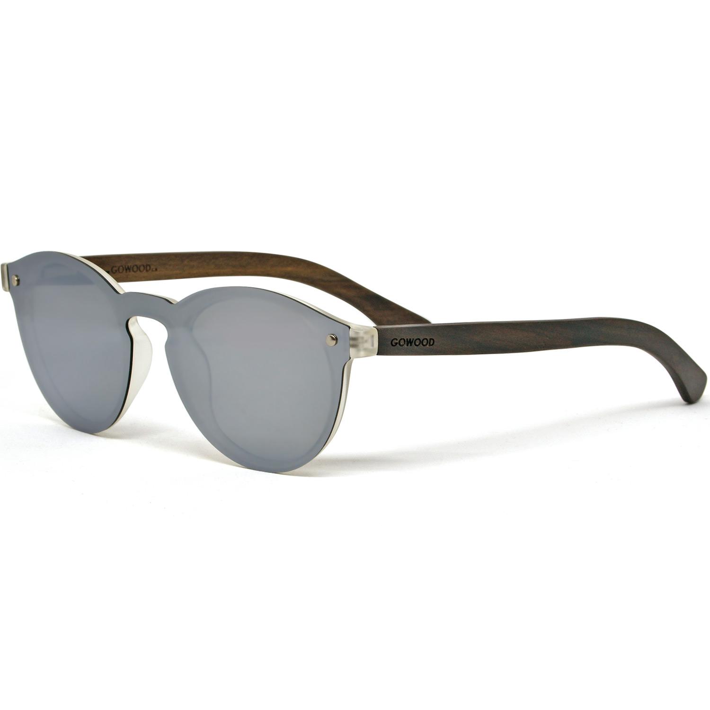Round ebony wood sunglasses silver mirrored polarized lenses