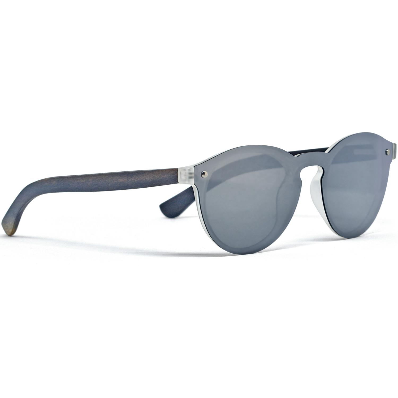 Round ebony wood sunglasses silver mirrored polarized one piece lens right