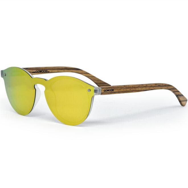 Round zebra wood sunglasses gold polarized polarized lenses