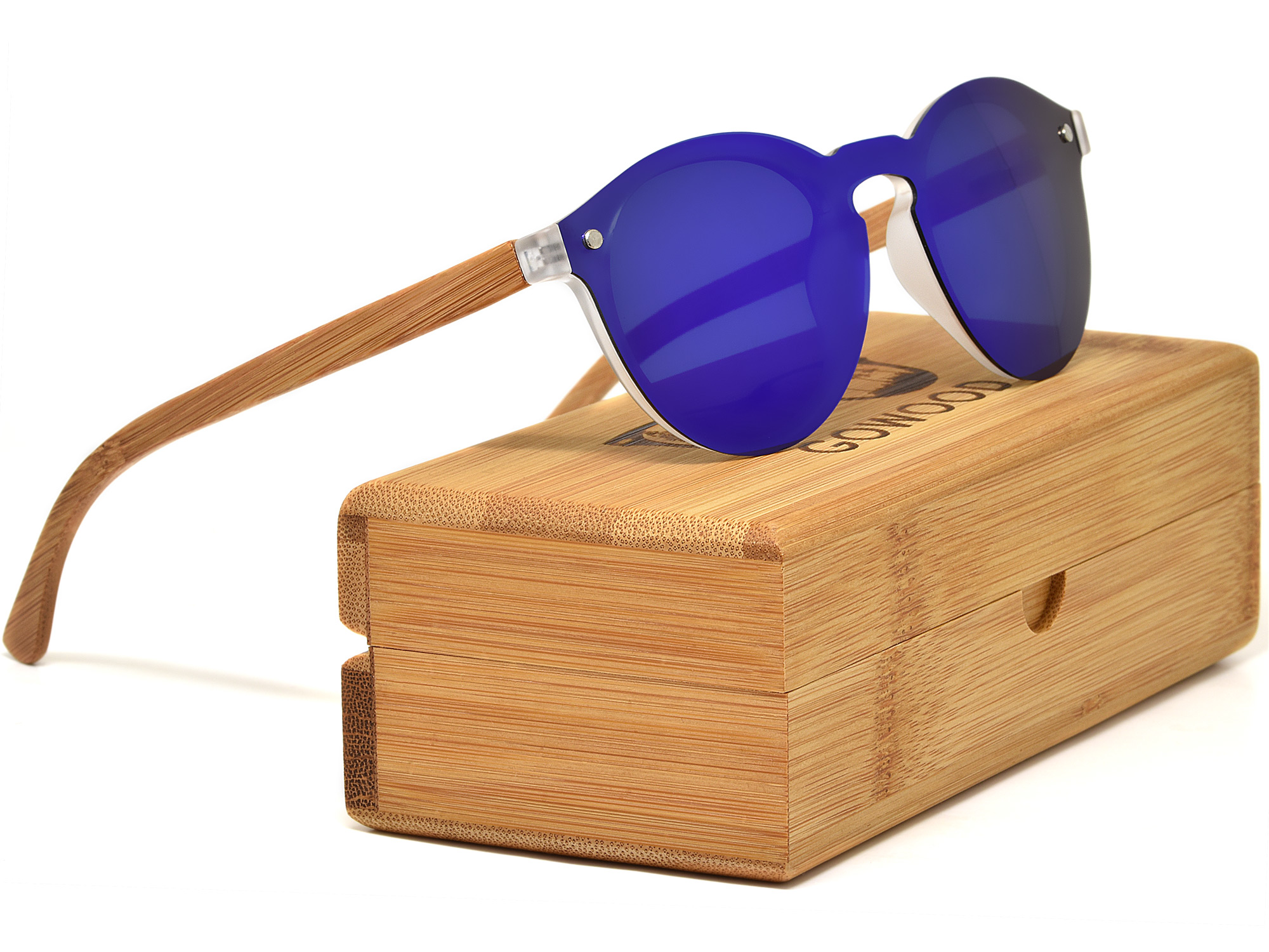 Round bamboo wood sunglasses with blue mirrored lenses