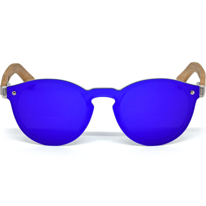 Round bamboo wood sunglasses silver mirrored polarized one piece lens front