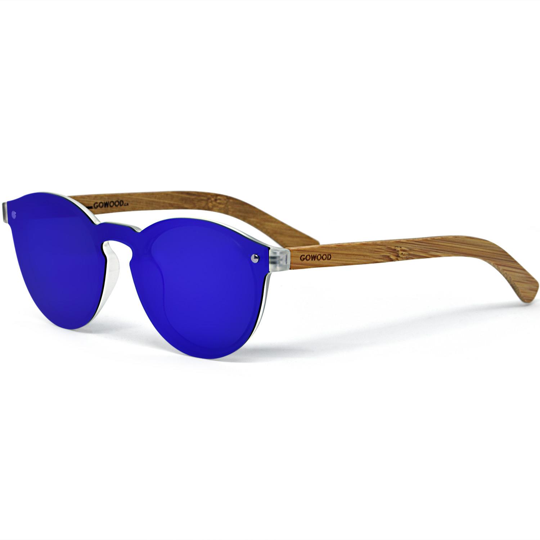 Round bamboo wood sunglasses blue mirrored polarized lenses