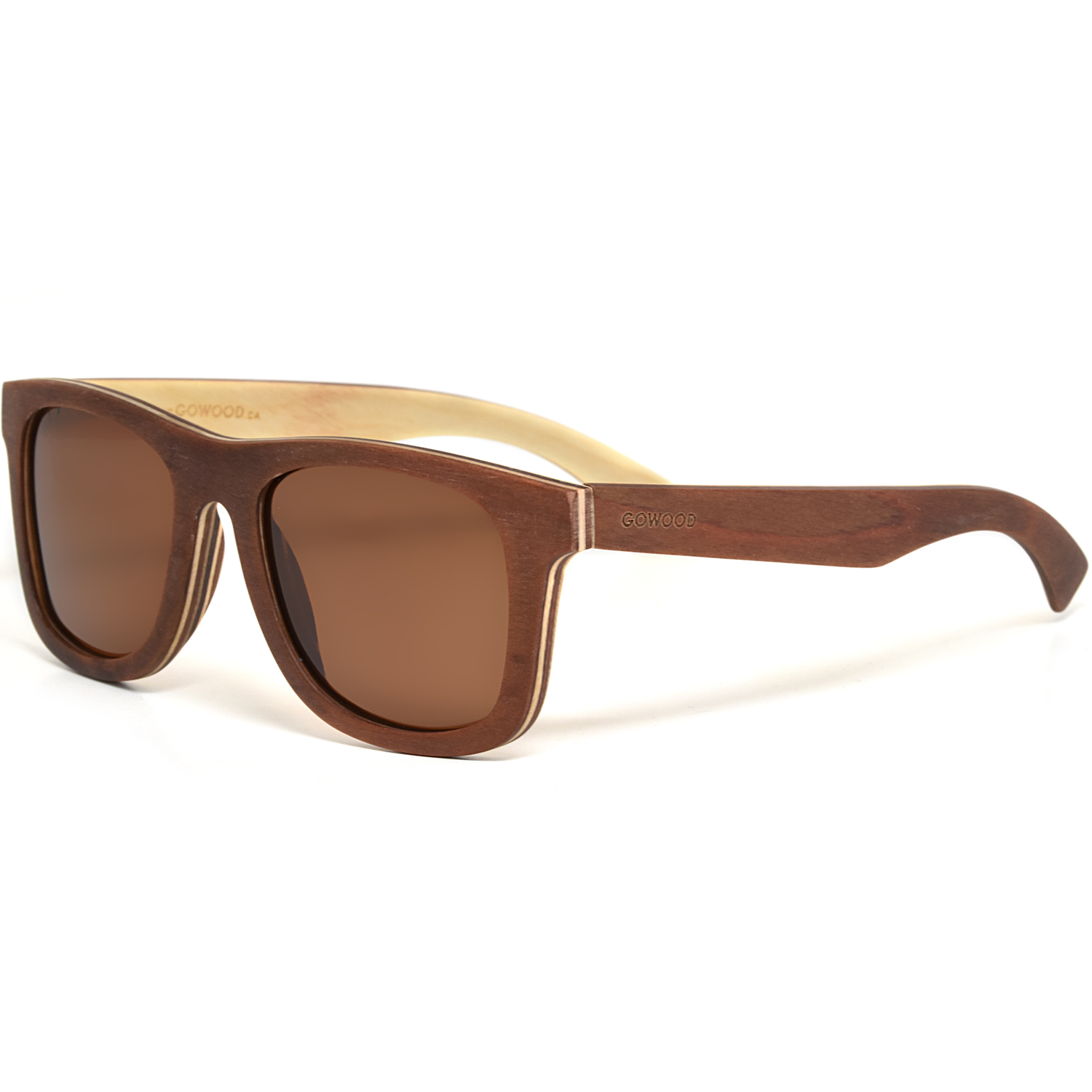Brown maple wood sunglasses with brown polarized lenses