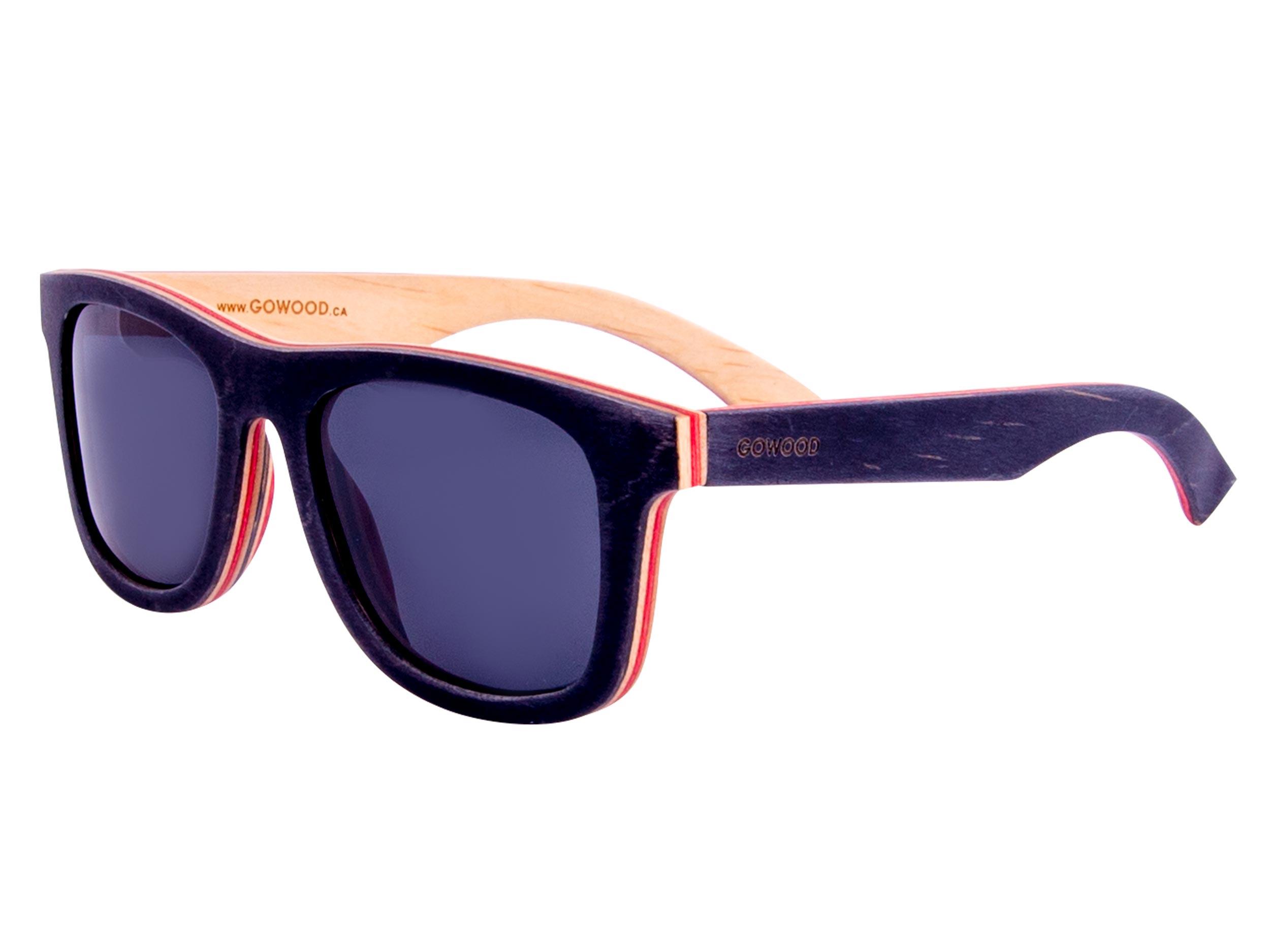 Black skateboard wood sunglasses left