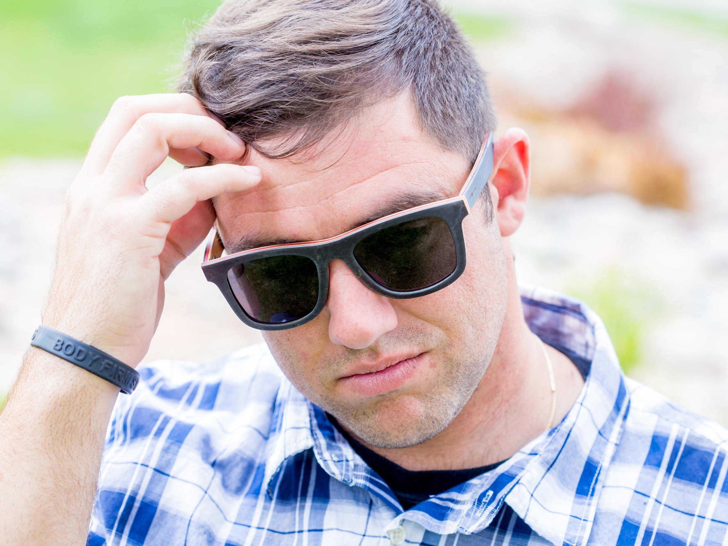 Black skateboard wood sunglasses model