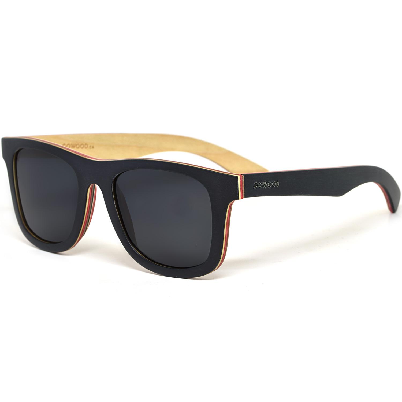 Black maple wood sunglasses with black polarized lenses