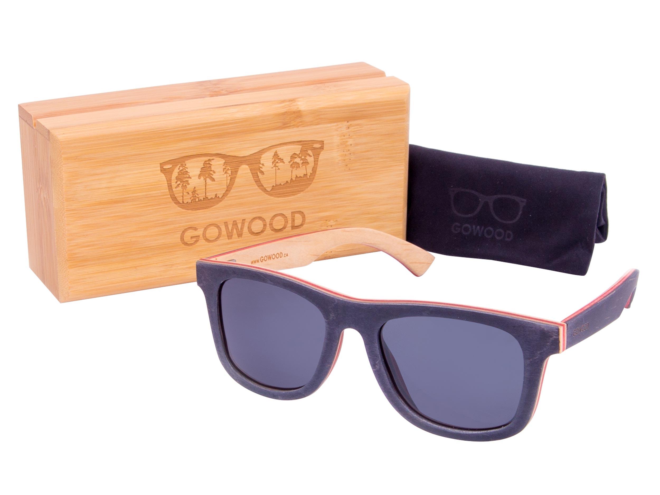 Black skateboard wood sunglasses set
