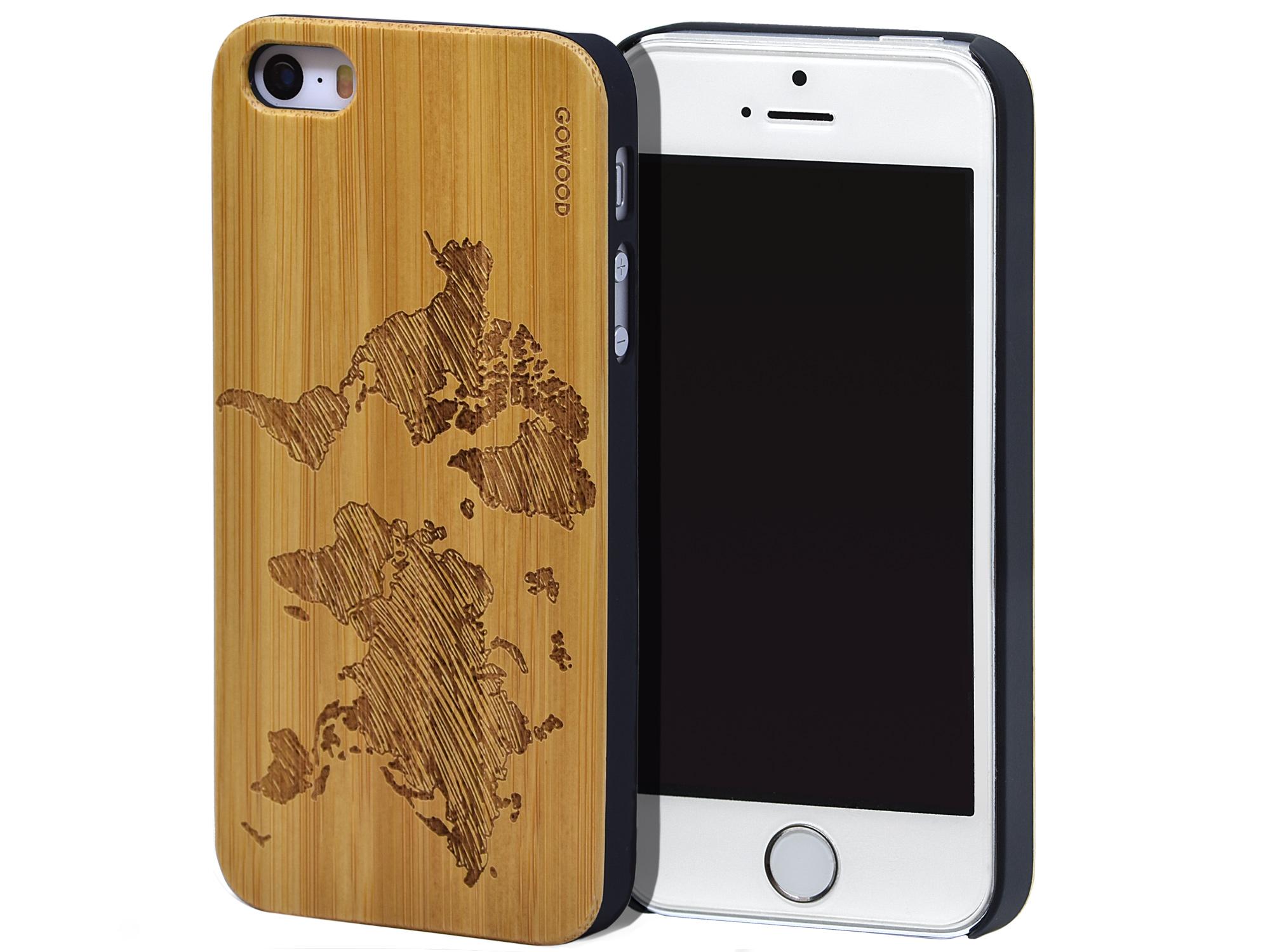 iPhone 5 wood case bamboo world map