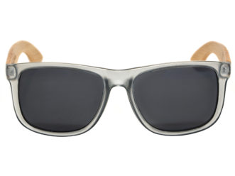 Square bamboo wood sunglasses with black polarized lenses front