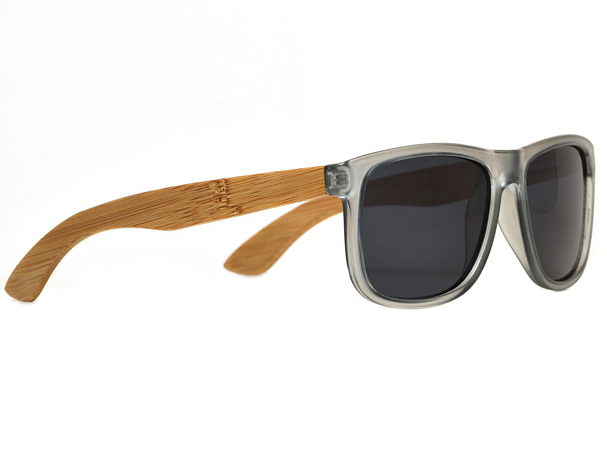 Square bamboo wood sunglasses with black polarized lenses right