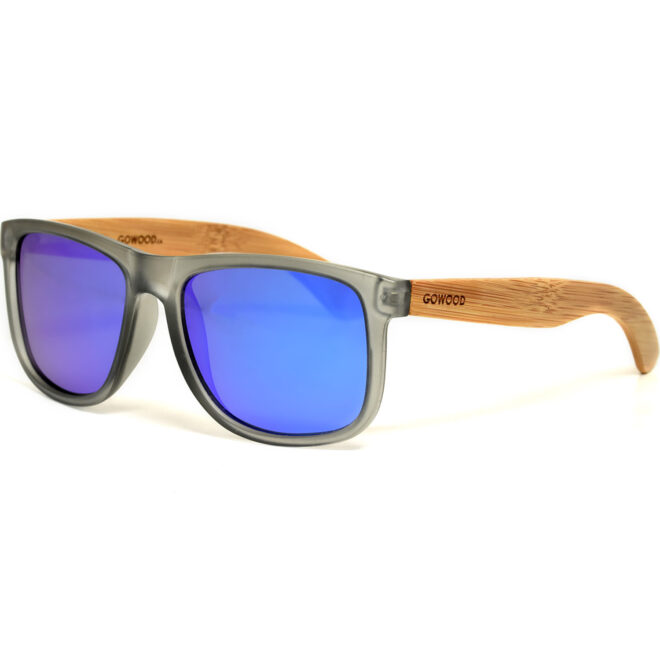Square bamboo wood sunglasses blue mirrored polarized lenses