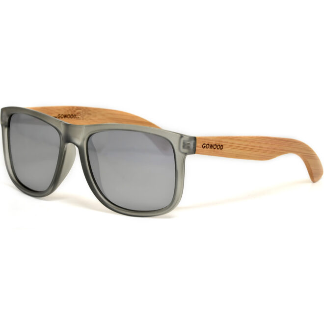 Square bamboo wood sunglasses silver mirrored polarized lenses