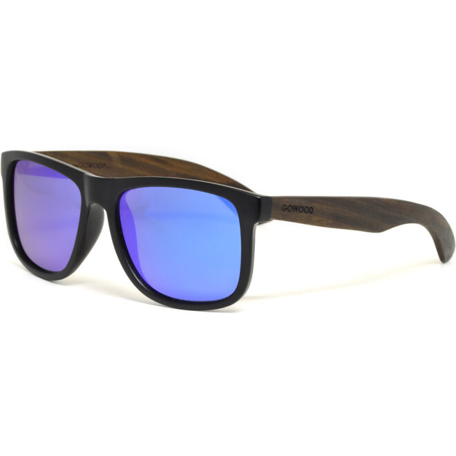 Square ebony wood sunglasses blue mirrored polarized lenses