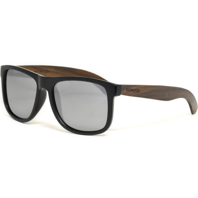 Square ebony wood sunglasses silver mirrored polarized lenses