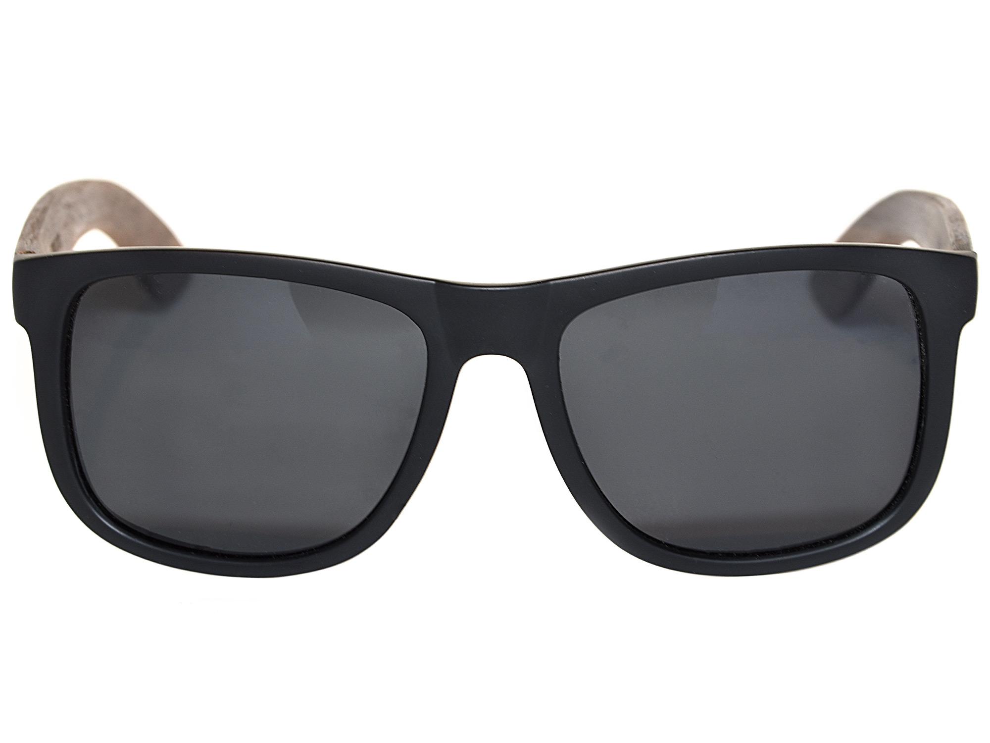 Square walnut wood sunglasses with black polarized lenses front